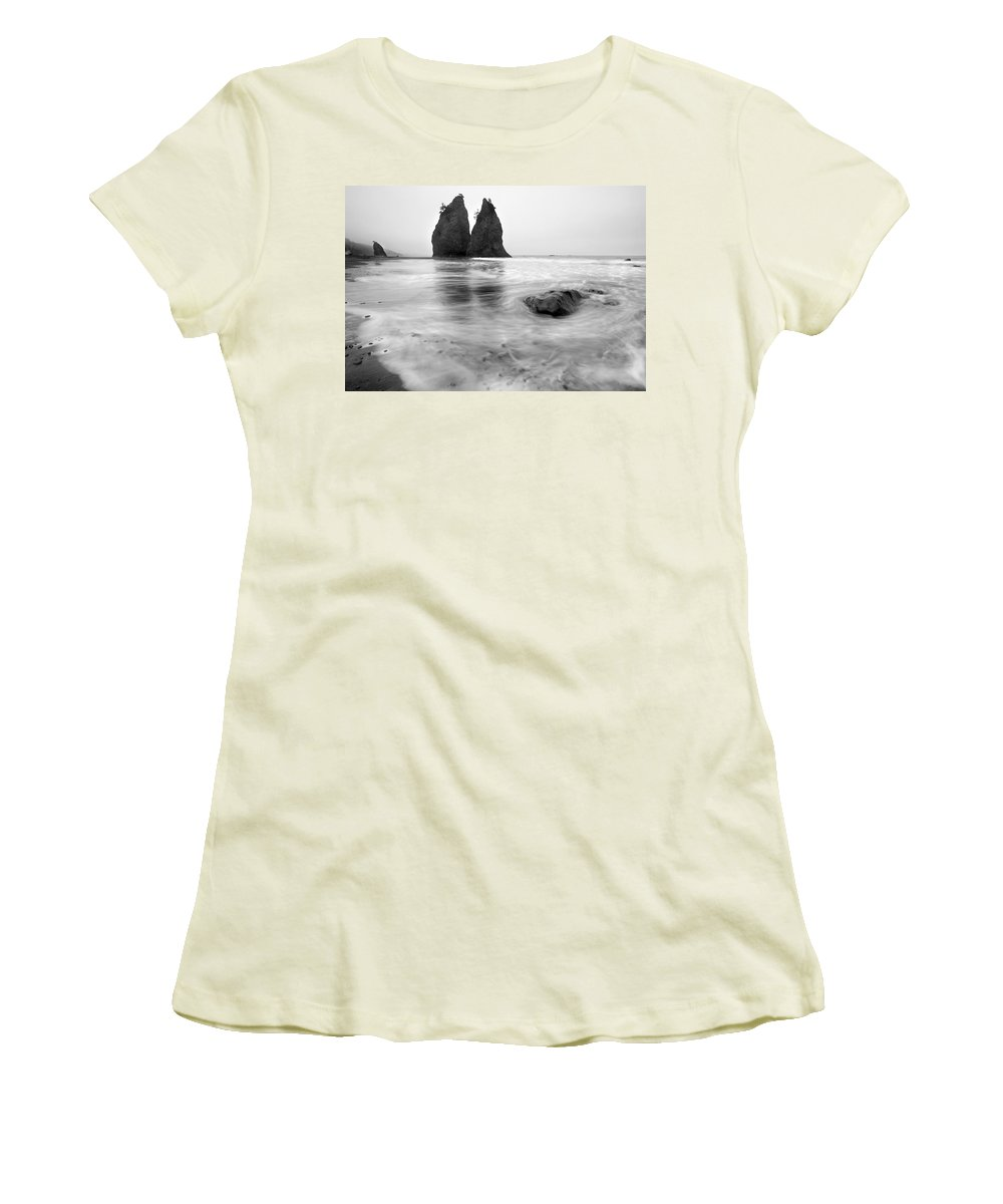 Beach Women's T-Shirt (Athletic Fit) featuring the photograph Rialto Reflections by Mike Dawson