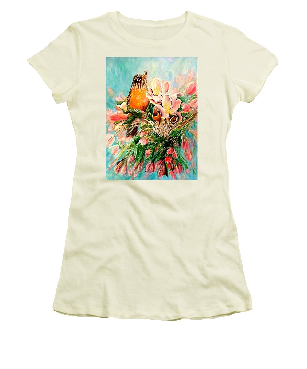 Robins Women's T-Shirt (Athletic Fit) featuring the painting Robin Hood by Carol Allen Anfinsen