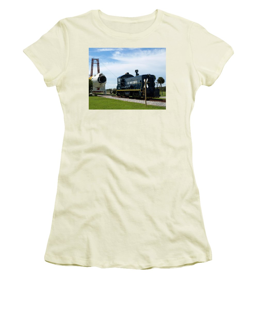 Airforce; Air Force; Air; Force; U.s.; Locomotive; Engine; Rail; Road; Railroad; Railway; Train; Gro Women's T-Shirt (Athletic Fit) featuring the photograph Rocket Locomotive At Cape Canaveral In Florida by Allan Hughes