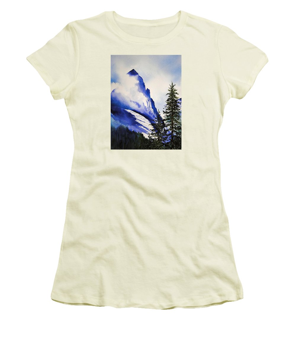 Rocky Mountains Women's T-Shirt (Athletic Fit) featuring the painting Rocky Mountain High by Karen Stark