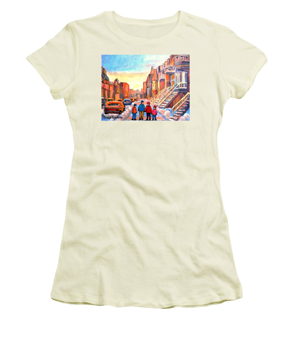 Rue Hotel De Ville Montreal Women's T-Shirt (Athletic Fit) featuring the painting Rue Hotel De Ville Montreal by Carole Spandau