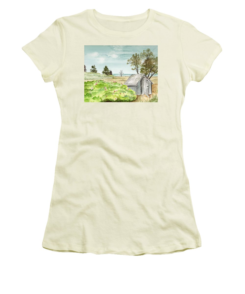Landscape Watercolor Scenery Scenic Trees Roses Shed Building Art Painting Maine Women's T-Shirt (Athletic Fit) featuring the painting Scenic Maine  by Brenda Owen
