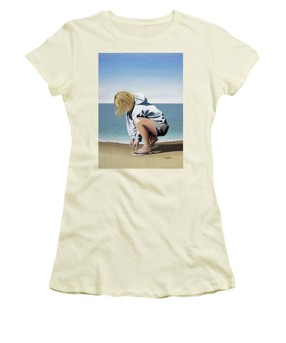 Landscape Women's T-Shirt (Athletic Fit) featuring the painting Sea Shells On The Beach by Kenneth M Kirsch
