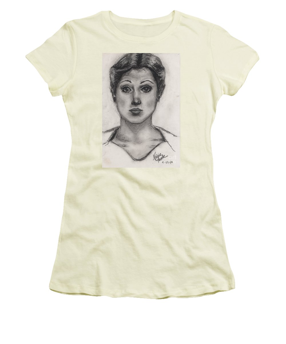 Nadine Women's T-Shirt (Athletic Fit) featuring the drawing Self Portrait At Age 18 by Nadine Rippelmeyer