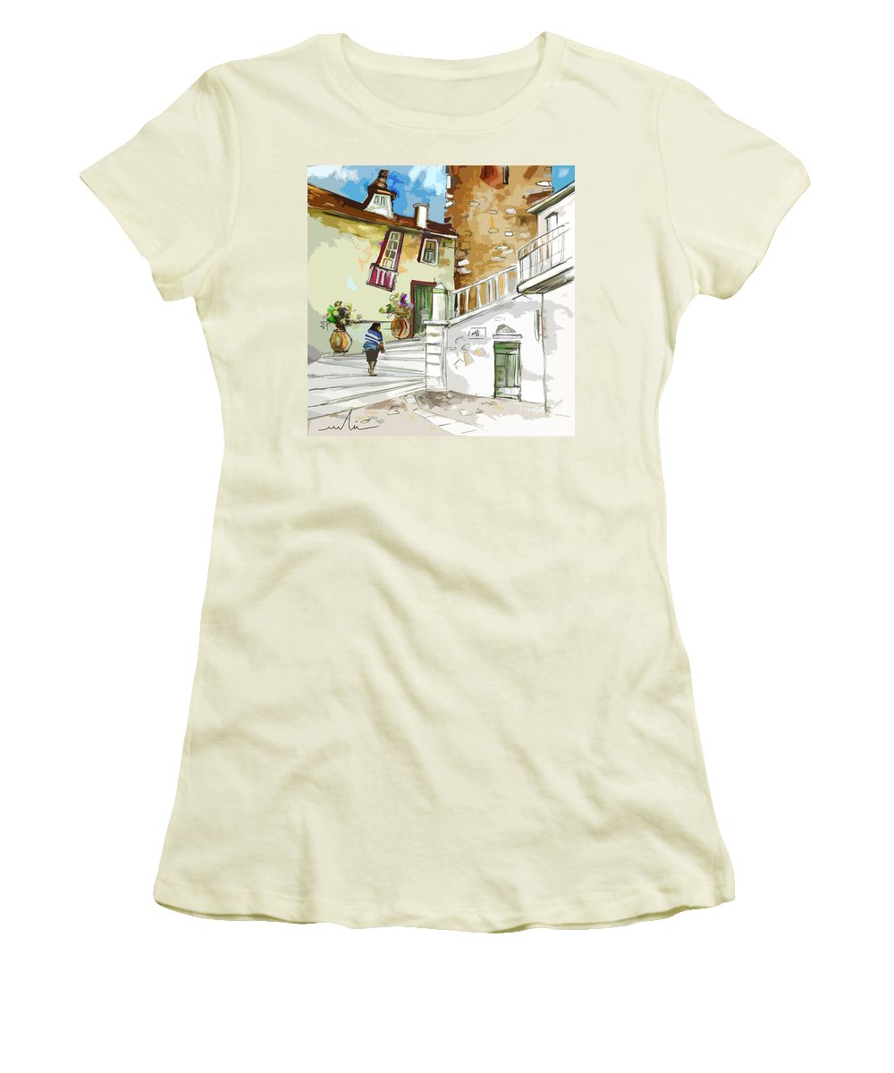 Painting Of Serpa Alentajo Portugal Travel Sketch Women's T-Shirt (Athletic Fit) featuring the painting Serpa Portugal 03 Bis by Miki De Goodaboom