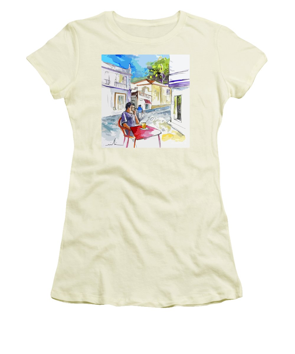 Portugal Paintings Women's T-Shirt (Athletic Fit) featuring the painting Serpa Portugal 05 Bis by Miki De Goodaboom