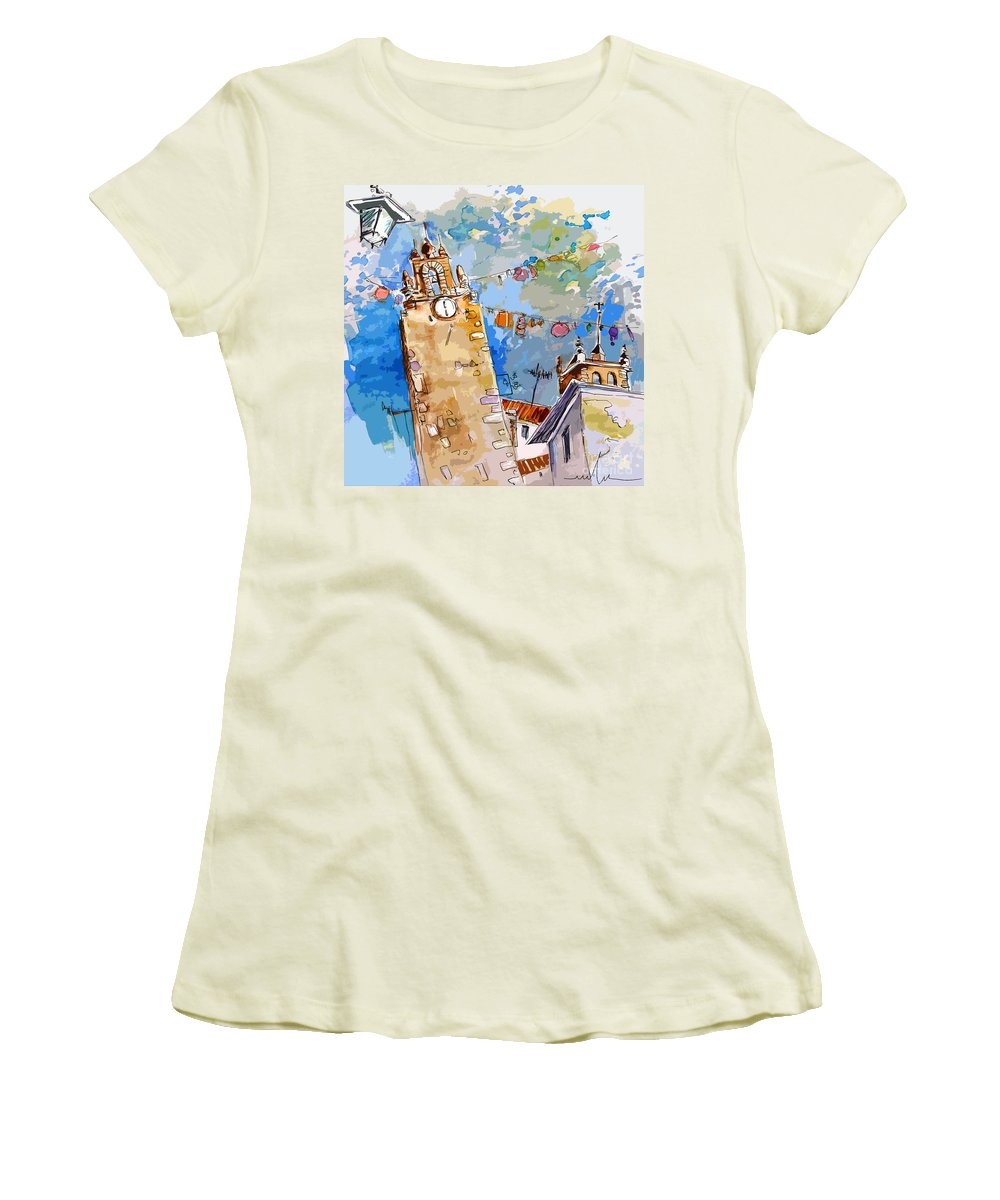 Painting Of Serpa Alentajo Portugal Travel Sketch Women's T-Shirt (Athletic Fit) featuring the painting Serpa Portugal 08 Bis by Miki De Goodaboom