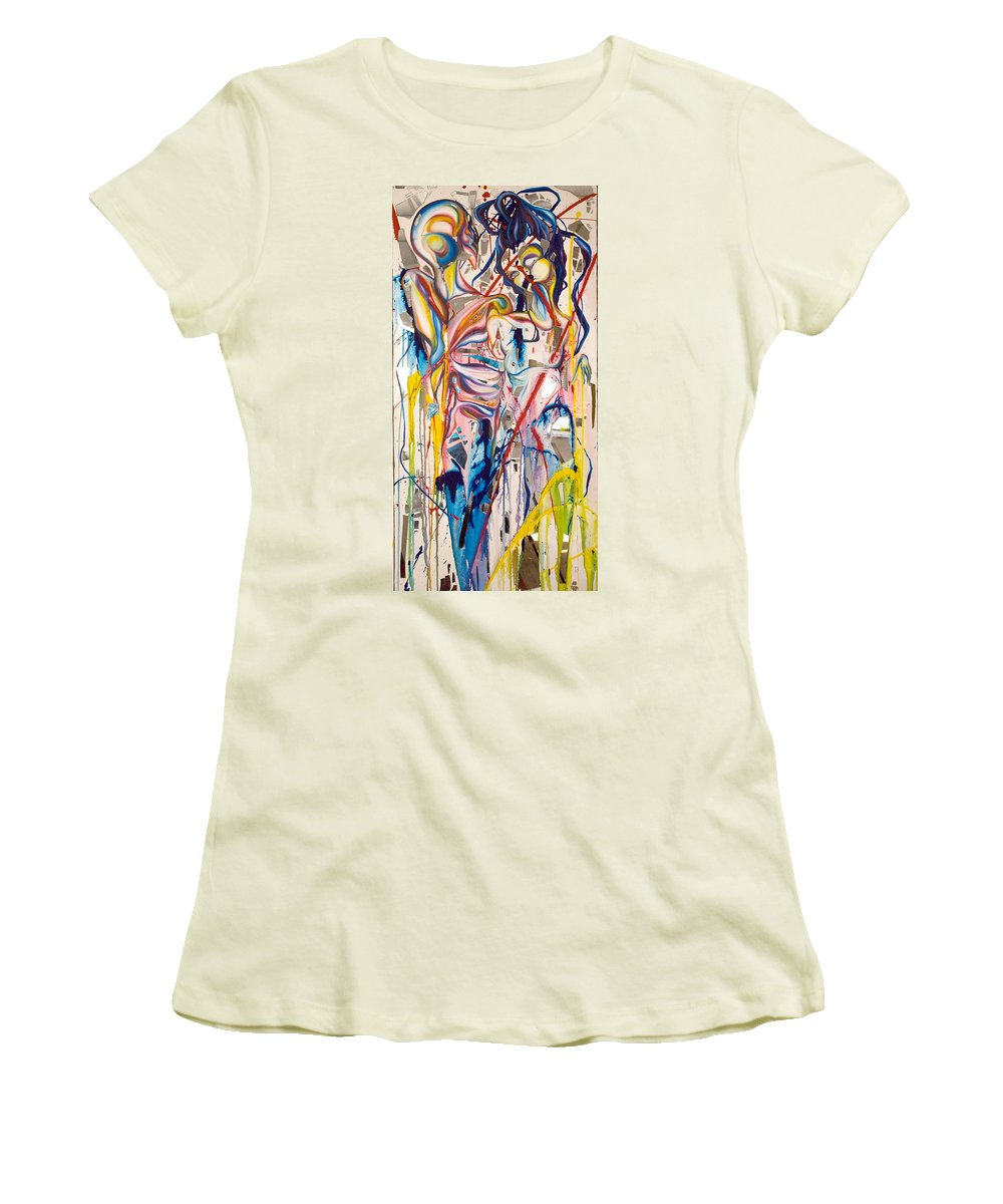 Abstract Women's T-Shirt (Athletic Fit) featuring the painting Shards by Sheridan Furrer