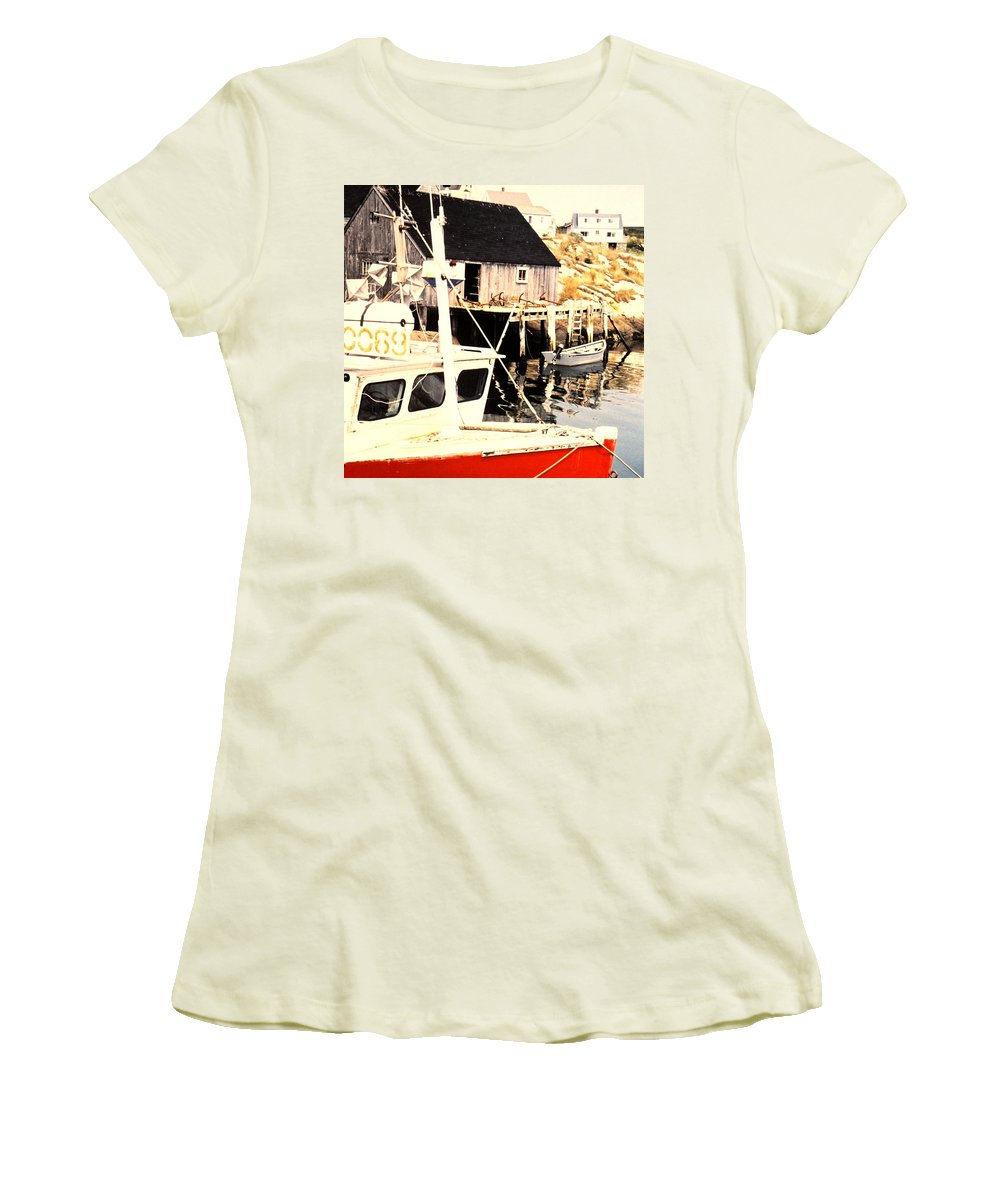 Peggys Cove Women's T-Shirt (Athletic Fit) featuring the photograph Sheltered Port by Ian MacDonald