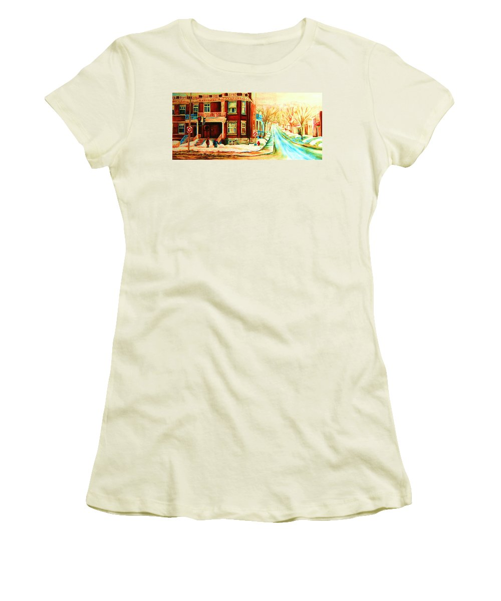 Montreal Women's T-Shirt (Athletic Fit) featuring the painting Sherbrooke In Winter by Carole Spandau