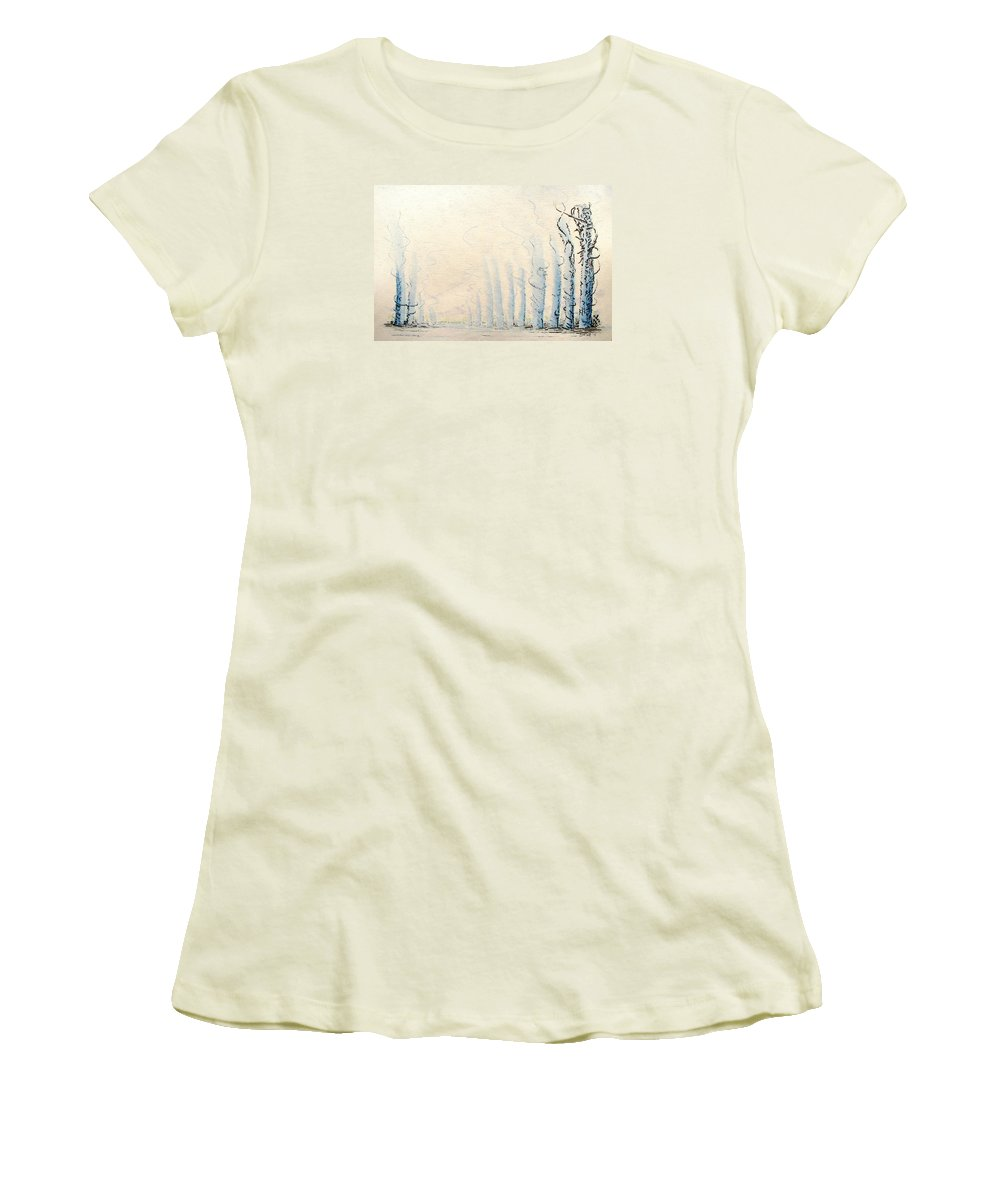 Watercolor Women's T-Shirt (Athletic Fit) featuring the painting Signals by Dave Martsolf