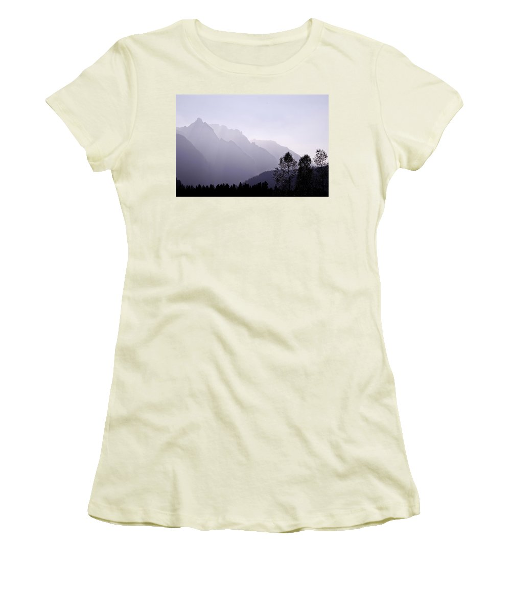 Mountain Silhouette Women's T-Shirt (Athletic Fit) featuring the photograph Silhouette Austria Europe by Sabine Jacobs