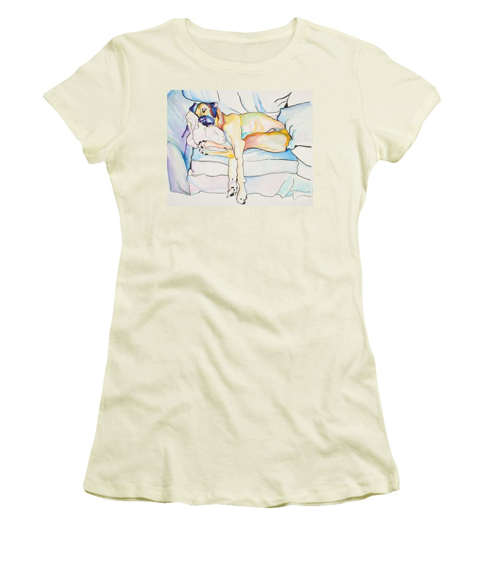 Great Dane Women's T-Shirt (Athletic Fit) featuring the painting Sleeping Beauty by Pat Saunders-White