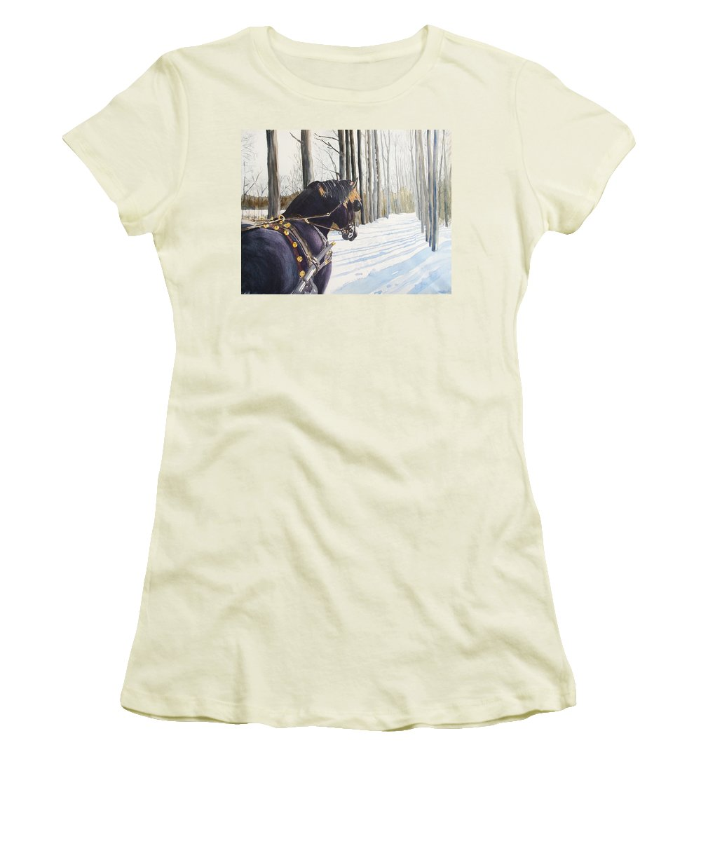 Horse Women's T-Shirt (Athletic Fit) featuring the painting Sleigh Bells by Ally Benbrook