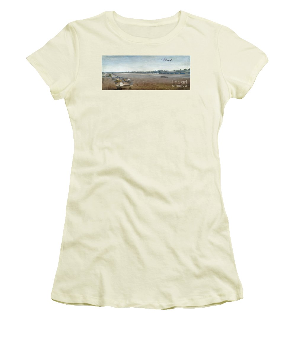 City Airport Women's T-Shirt (Athletic Fit) featuring the photograph Small City Airport Plane Taking Off Runway by David Zanzinger