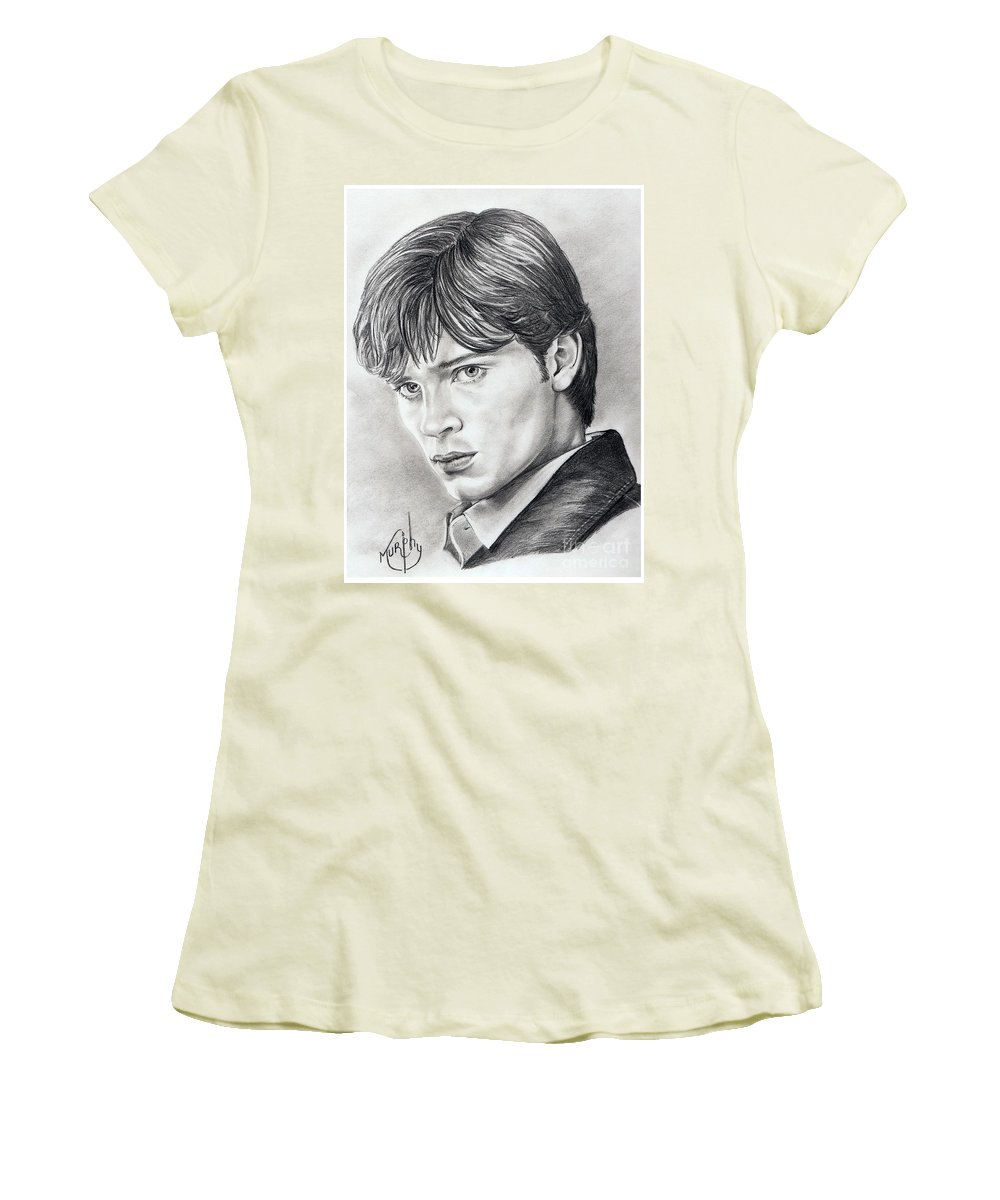 Superman Women's T-Shirt (Athletic Fit) featuring the drawing Smallville Tom Welling by Murphy Elliott