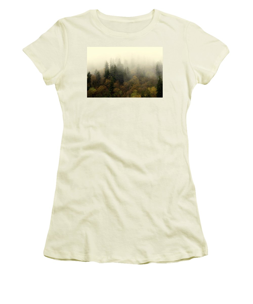Fog Women's T-Shirt (Athletic Fit) featuring the photograph Smoky Mount Horizontal by Marty Koch
