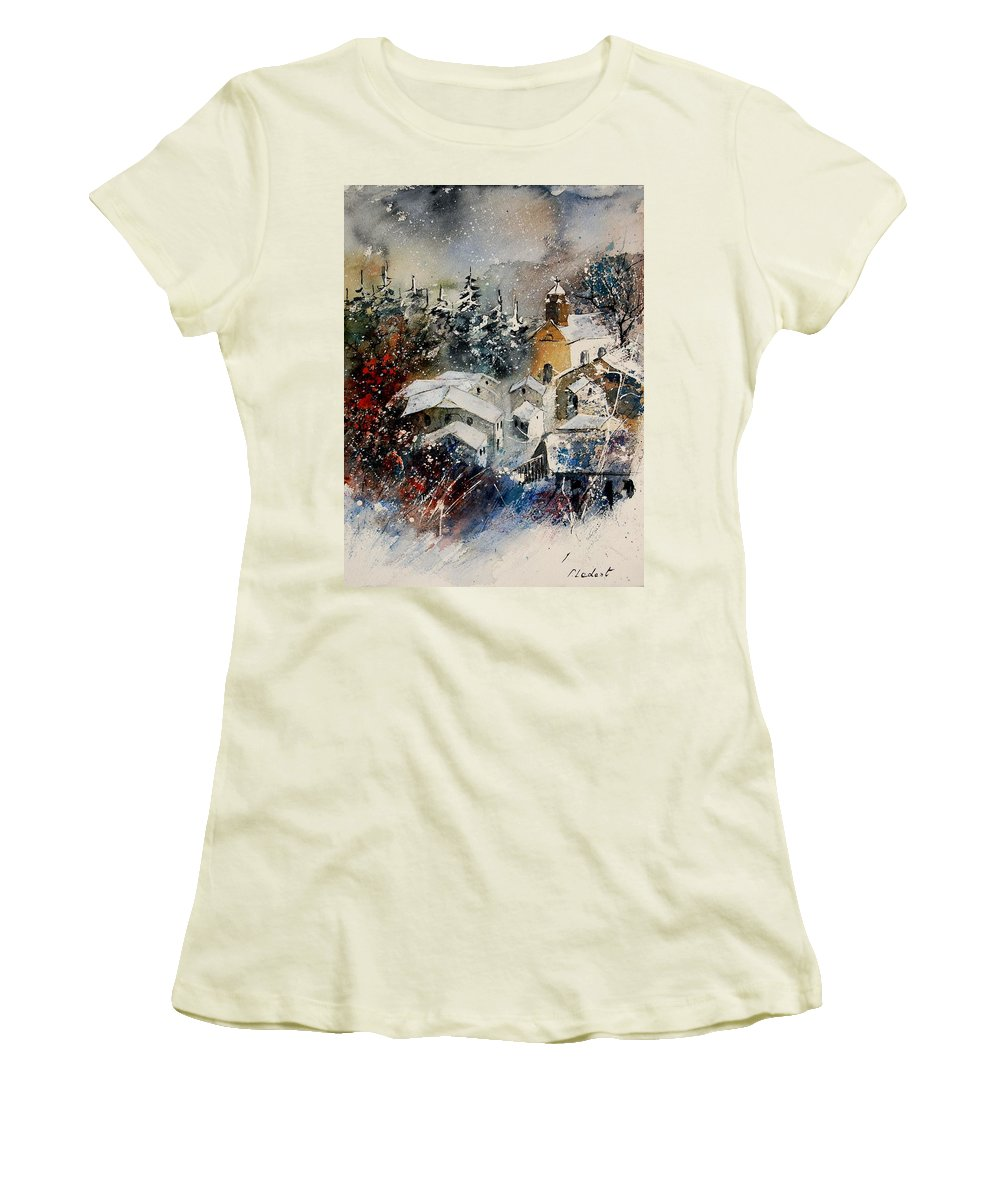 Landscape Women's T-Shirt (Athletic Fit) featuring the painting Snon In Frahan by Pol Ledent
