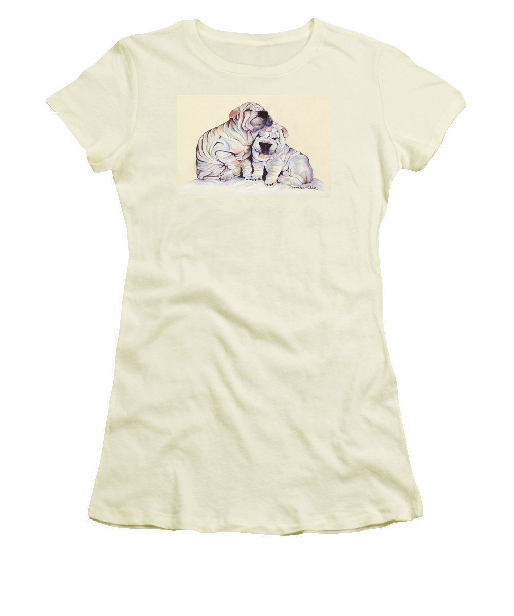 Dog Painting Women's T-Shirt (Athletic Fit) featuring the pastel Snuggles by Pat Saunders-White