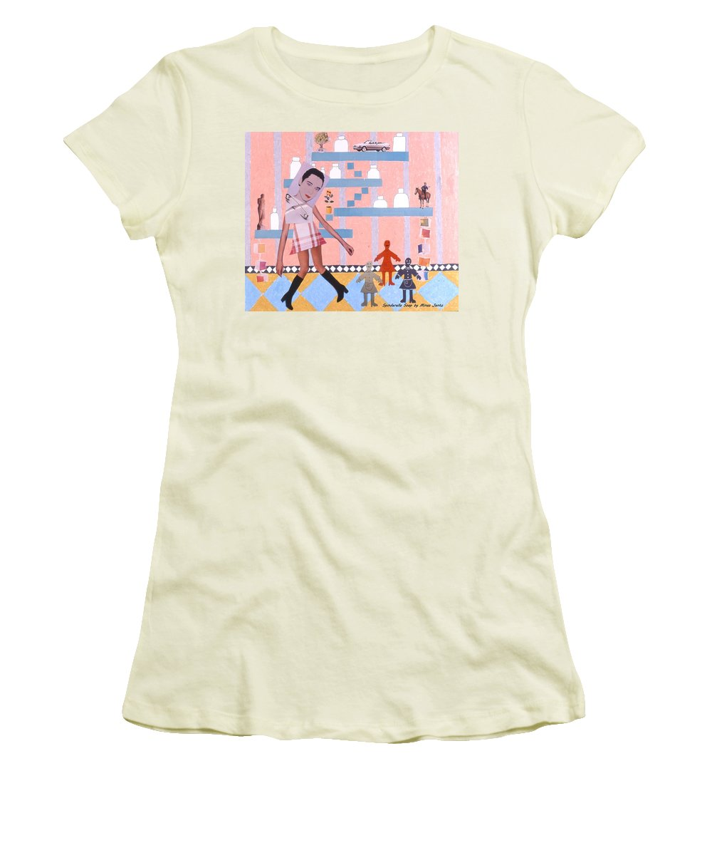 Cowboy Women's T-Shirt (Athletic Fit) featuring the drawing Soap Scene #16 Miracle Maids by Minaz Jantz