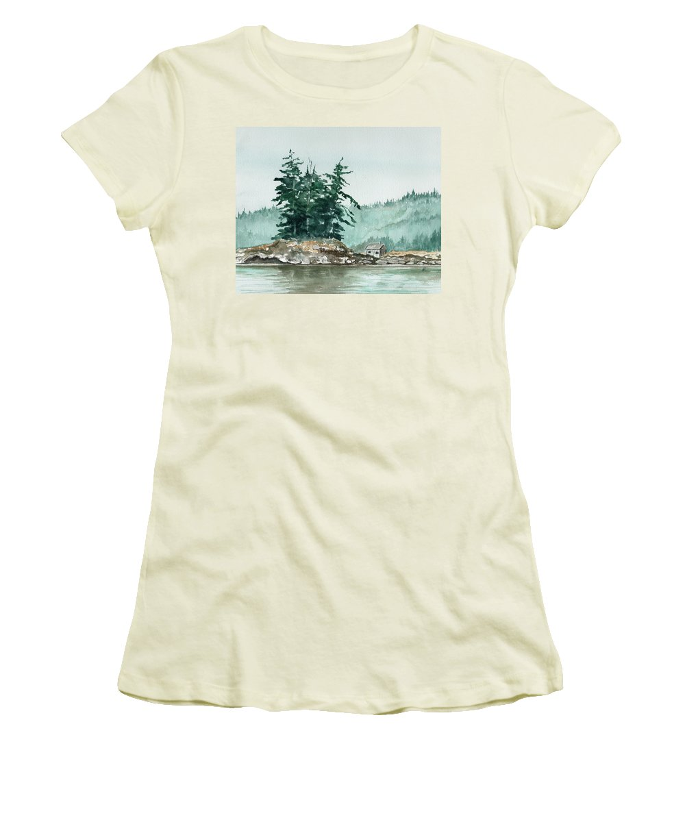 Landscape Watercolor Scenery Scenic Nature Wilderness Cabin Shack Trees Water Rural Women's T-Shirt (Athletic Fit) featuring the painting Sometimes A Great Notion by Brenda Owen
