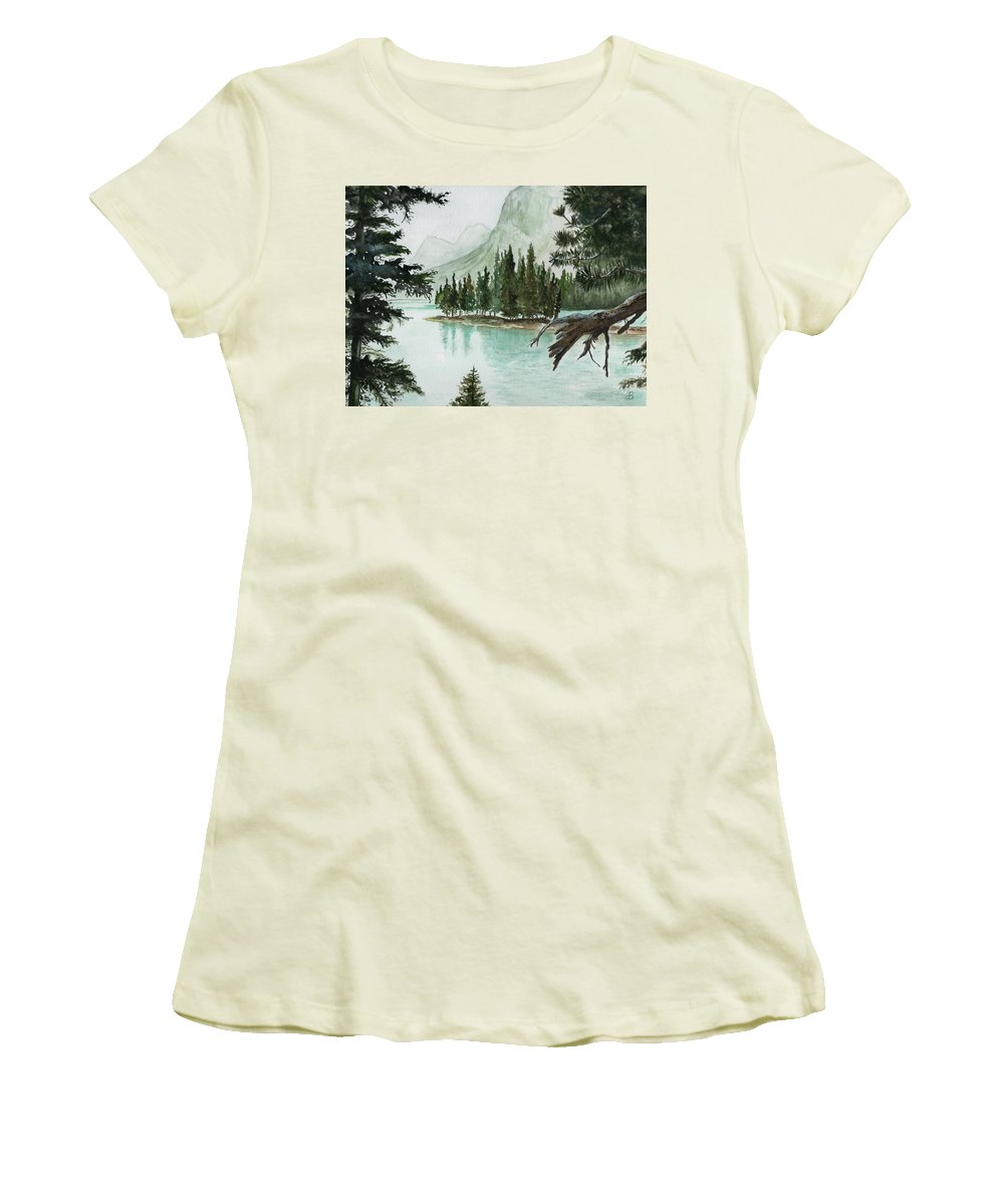 Landscape Women's T-Shirt (Athletic Fit) featuring the painting Spirit Lake by Brenda Owen