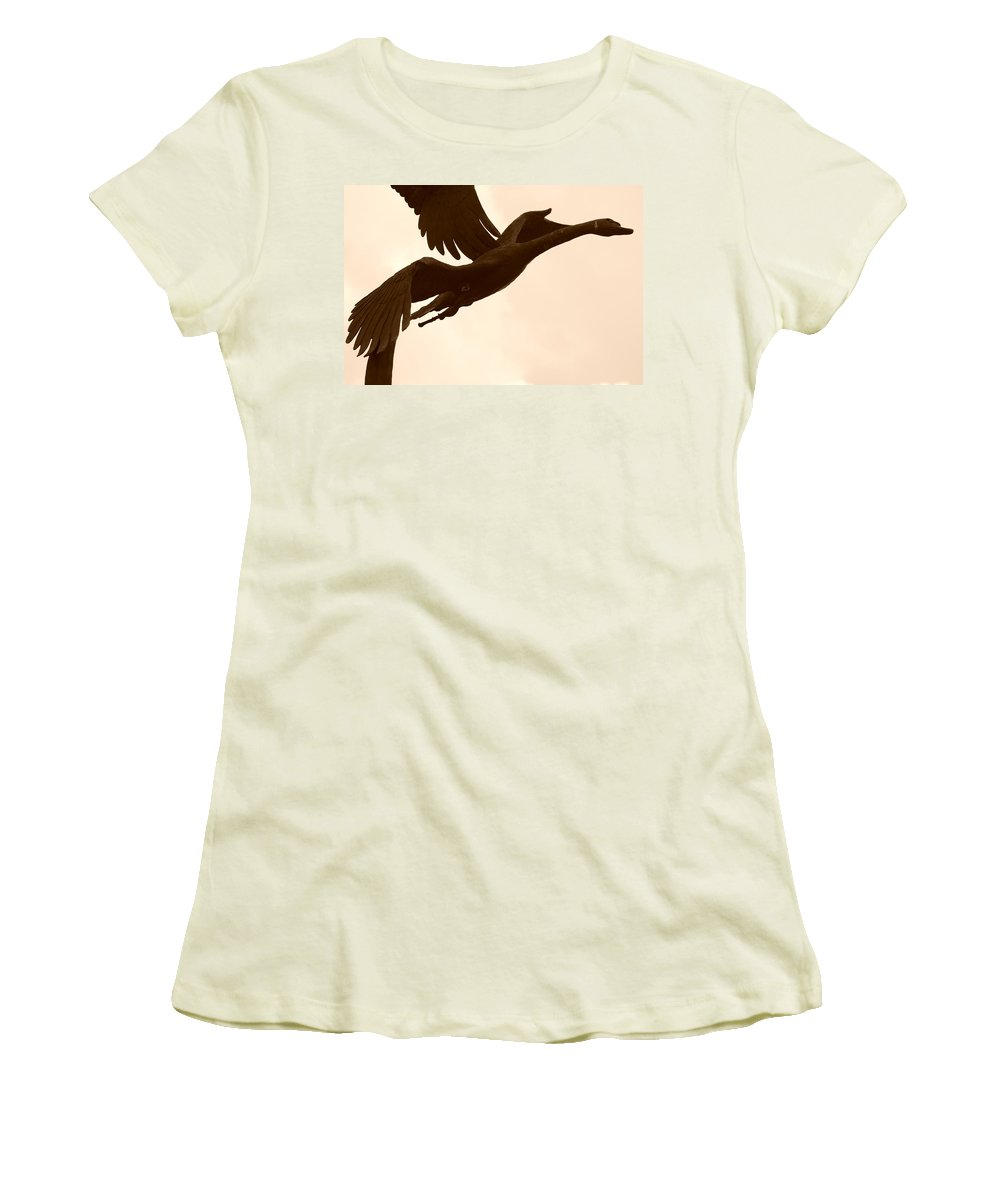 Sepia Women's T-Shirt (Athletic Fit) featuring the photograph Stone Birds by Rob Hans