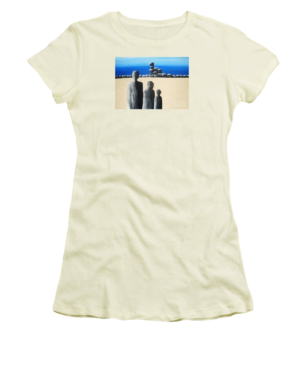 Stones Women's T-Shirt (Athletic Fit) featuring the painting Stone Horizon by Reb Frost