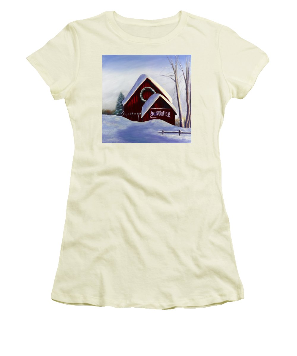 Landscape Women's T-Shirt (Athletic Fit) featuring the painting Sun Valley 3 by Shannon Grissom