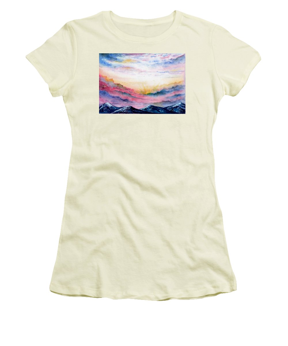 Watercolor Women's T-Shirt (Athletic Fit) featuring the painting Sunrise by Brenda Owen