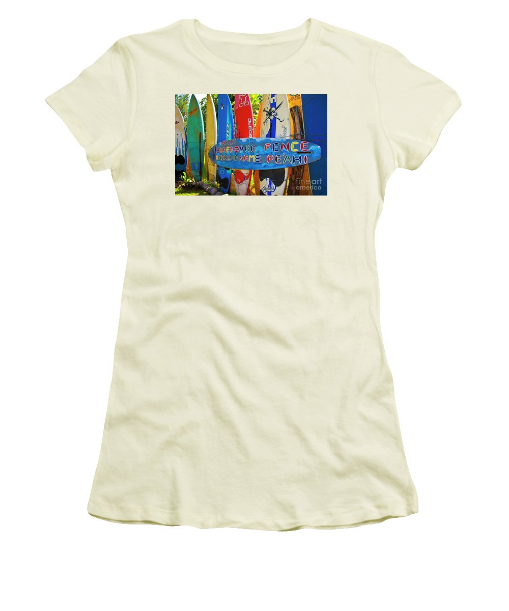 Surfboards Women's T-Shirt (Athletic Fit) featuring the photograph Surfboard Fence-the Amazing Race by Jim Cazel