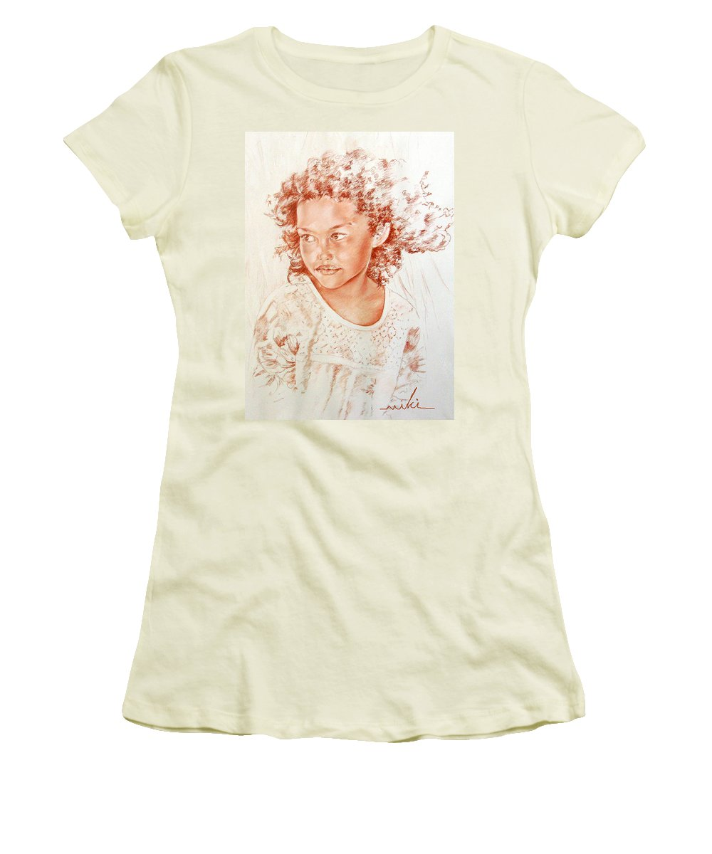 Drawing Persons Women's T-Shirt (Athletic Fit) featuring the painting Tahitian Girl by Miki De Goodaboom