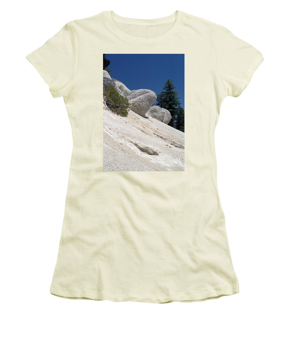 Abstract Women's T-Shirt (Athletic Fit) featuring the photograph Tahoe Rocks by Richard Rizzo