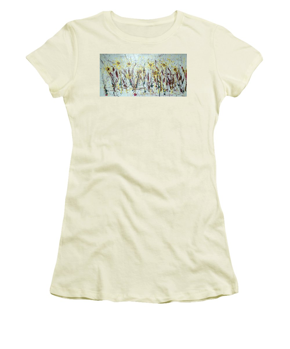 Flowers Women's T-Shirt (Athletic Fit) featuring the painting Tending My Garden by J R Seymour