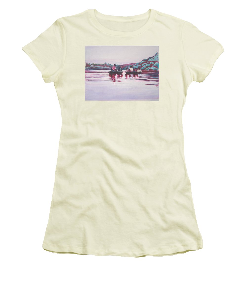 Teppa Women's T-Shirt (Athletic Fit) featuring the painting Teppa Ride by Usha Shantharam