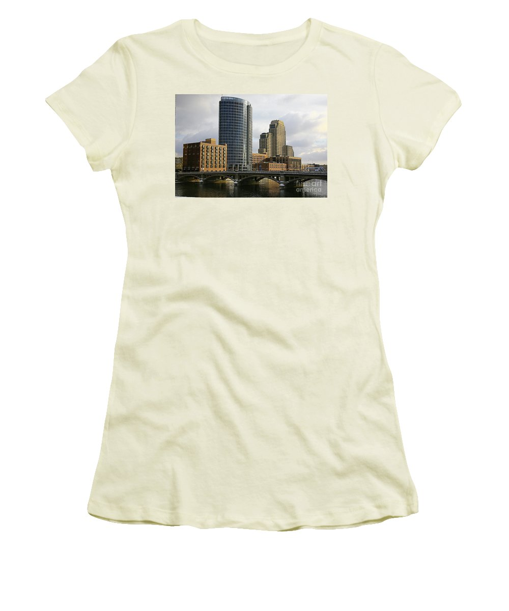 City Women's T-Shirt (Athletic Fit) featuring the photograph The City Grand Rapids Mi-2 by Robert Pearson