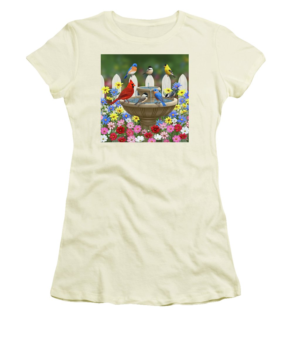 Birds Women's T-Shirt (Athletic Fit) featuring the painting The Colors Of Spring - Bird Fountain In Flower Garden by Crista Forest