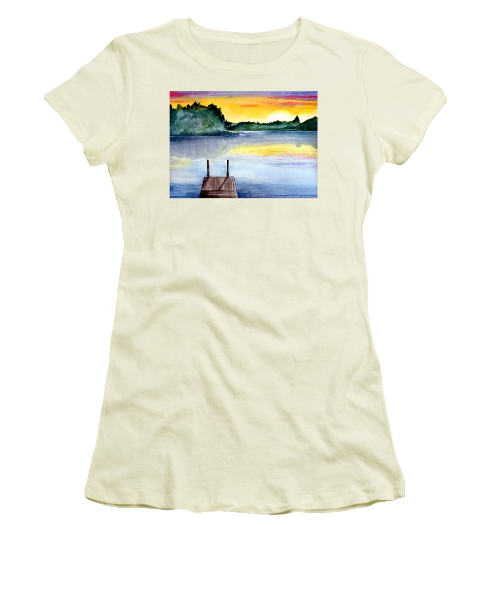 Watercolor Women's T-Shirt (Athletic Fit) featuring the painting The Dock by Brenda Owen