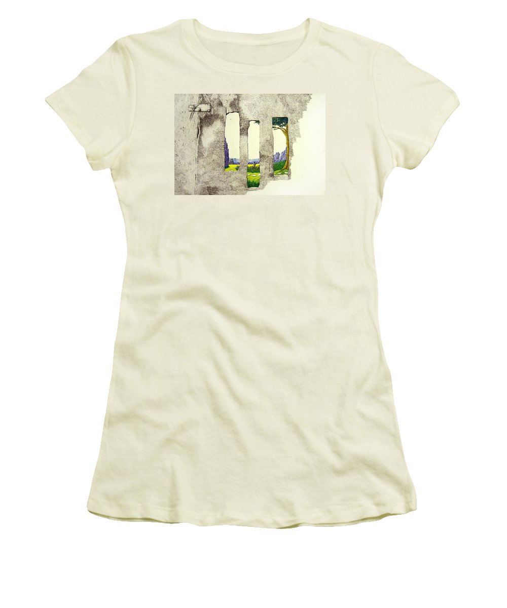 Imaginary Landscape. Women's T-Shirt (Athletic Fit) featuring the painting The Garden by A Robert Malcom