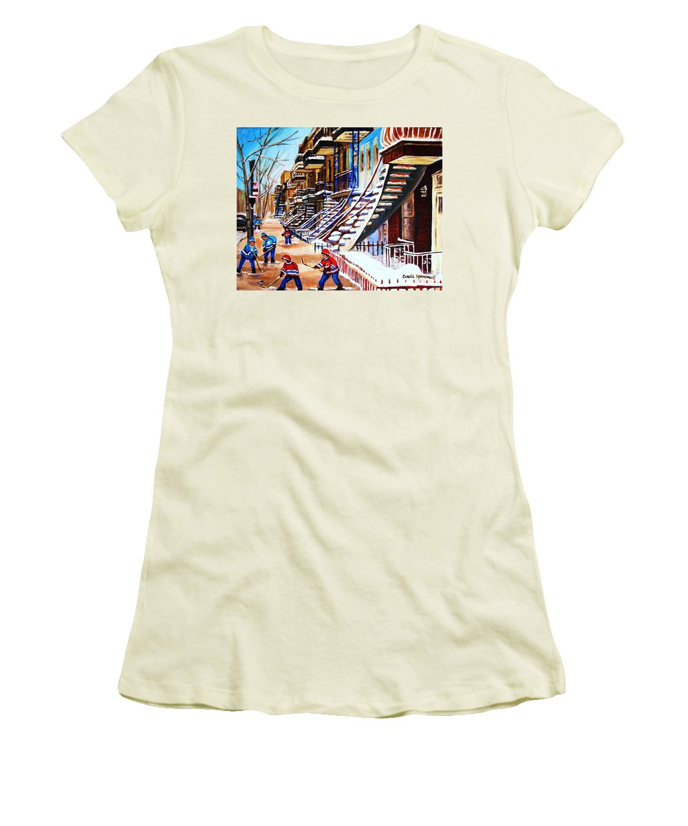 Hockey Women's T-Shirt (Athletic Fit) featuring the painting The Gray Staircase by Carole Spandau