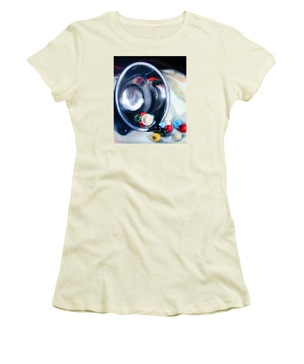 Marbles Women's T-Shirt (Athletic Fit) featuring the pastel The Marble Bowl by Leyla Munteanu
