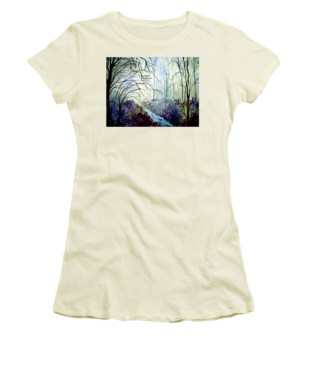 Watercolor Women's T-Shirt (Athletic Fit) featuring the painting The Path by Brenda Owen