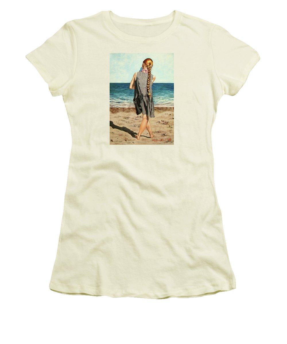 Sea Women's T-Shirt (Athletic Fit) featuring the painting The Secret Beauty - La Belleza Secreta by Rezzan Erguvan-Onal