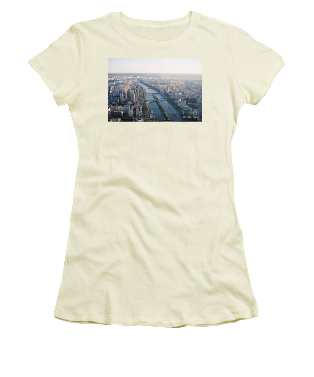 City Women's T-Shirt (Athletic Fit) featuring the photograph The Seine River In Paris by Nadine Rippelmeyer