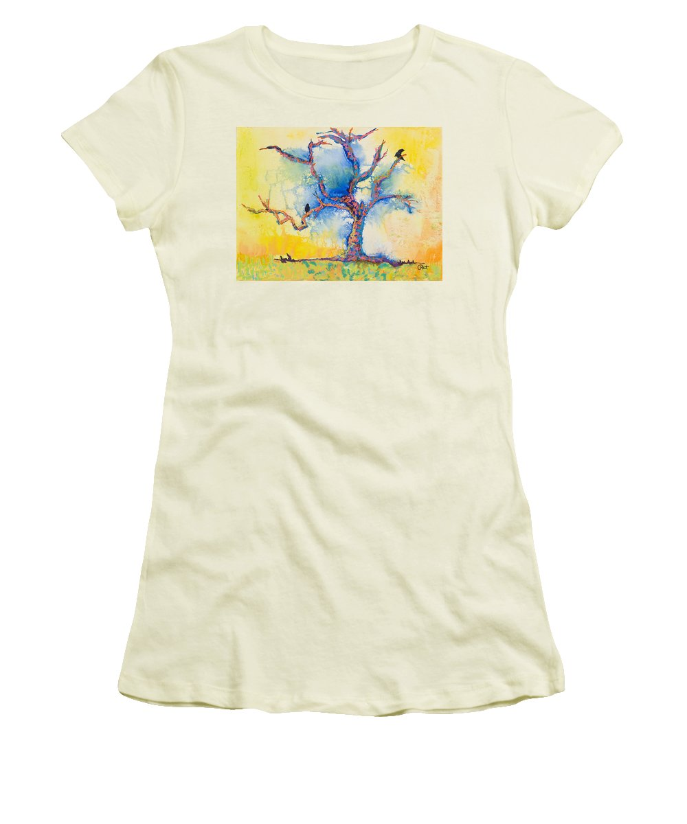 Abstract Painting Women's T-Shirt (Athletic Fit) featuring the mixed media The Wind Riders by Pat Saunders-White