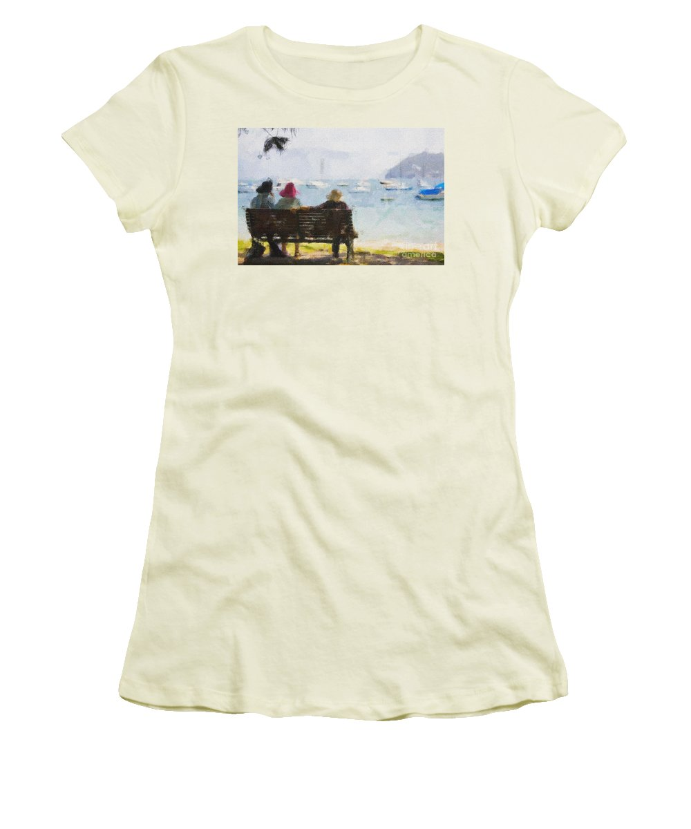 Impressionism Impressionist Water Boats Three Ladies Seat Women's T-Shirt (Athletic Fit) featuring the photograph Three Ladies by Avalon Fine Art Photography