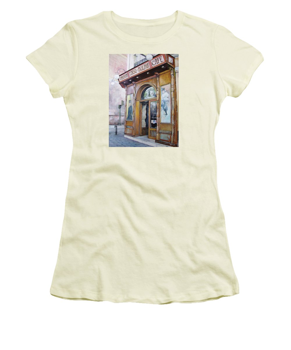 Tirso Women's T-Shirt (Junior Cut) featuring the painting Tirso De Molina Old Tavern by Tomas Castano