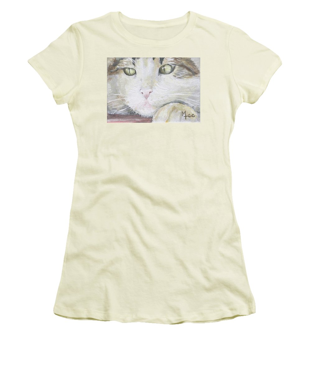 Charity Women's T-Shirt (Athletic Fit) featuring the painting Tommy by Mary-Lee Sanders