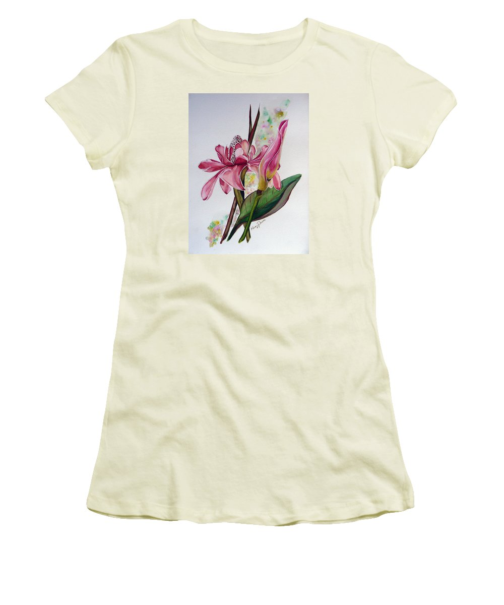 Flower Painting Floral Painting Botanical Painting Flowering Ginger. Women's T-Shirt (Athletic Fit) featuring the painting Torch Ginger Lily by Karin Dawn Kelshall- Best