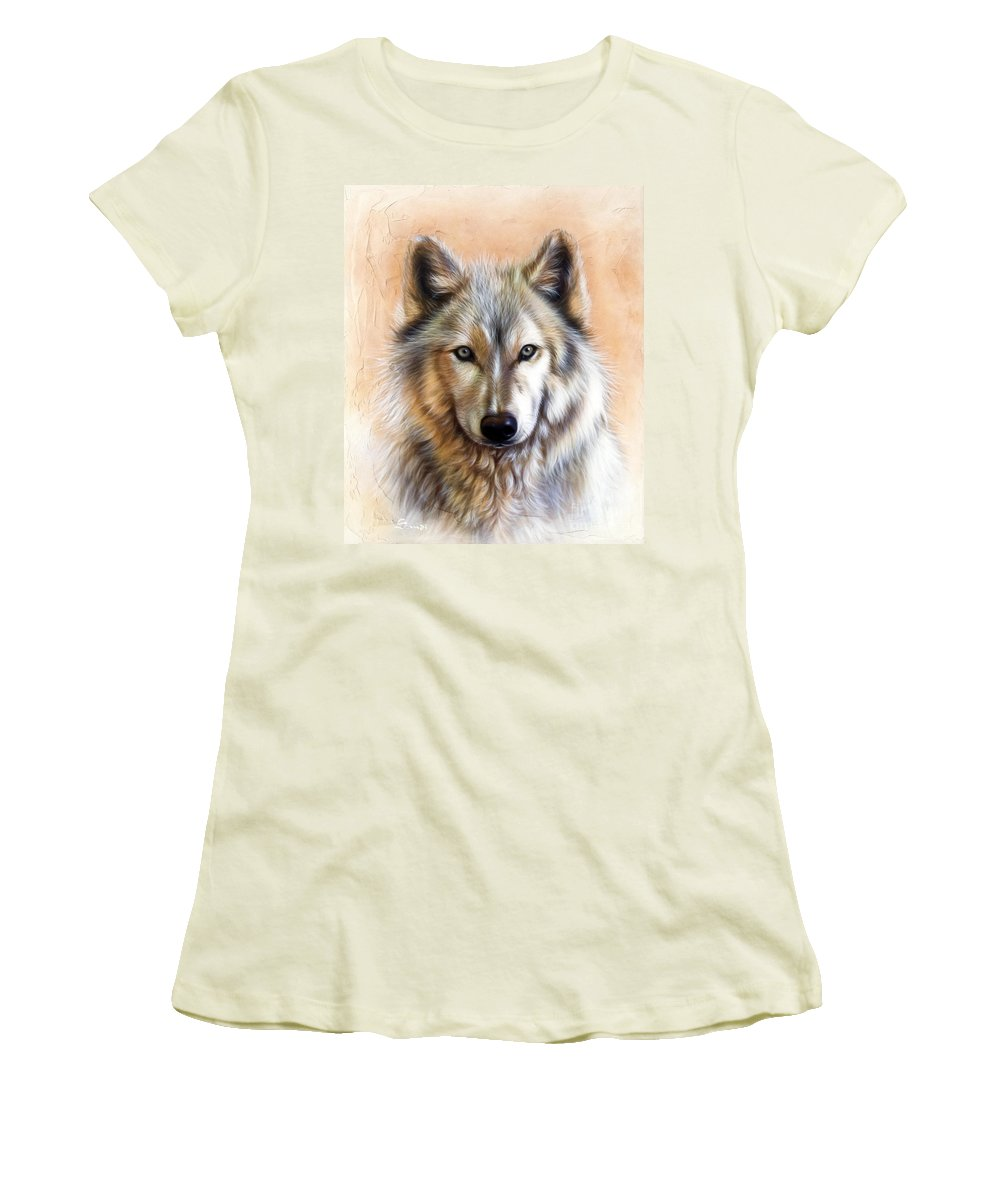 Wolves Women's T-Shirt (Athletic Fit) featuring the painting Trace Two by Sandi Baker